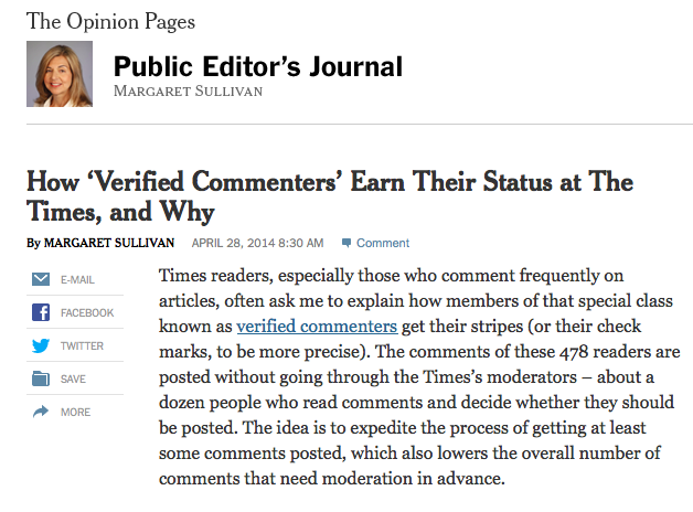 How 'Verified Commenters' Earn Their Status at The Times, and Why - nytimes.com