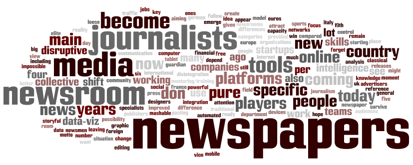 "Mapa conceptual. ""Future of newsrooms and newspapers"" (términos conforme surgieron en inglés)"